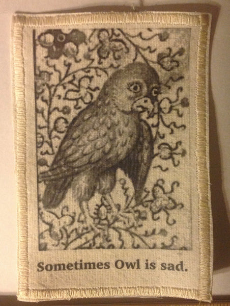 Cotton Canvas Handmade Sew-On Patch --Sometimes Owl Is Sad - Antika Nueva