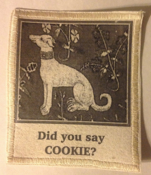 Cotton Canvas Handmade Sew-On Patch --Did You Say Cookie? Attentive Dog - Antika Nueva