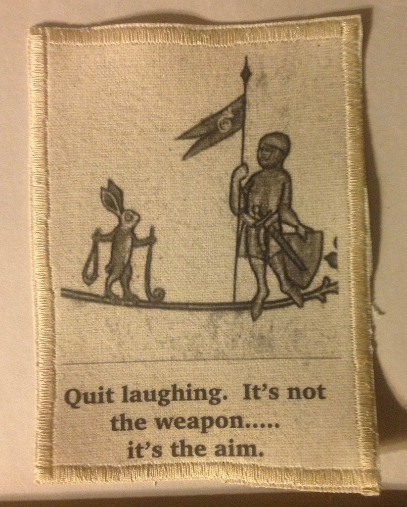 Cotton Canvas Handmade Sew-On Patch --It's Not The Weap*n, It's The Aim - Antika Nueva