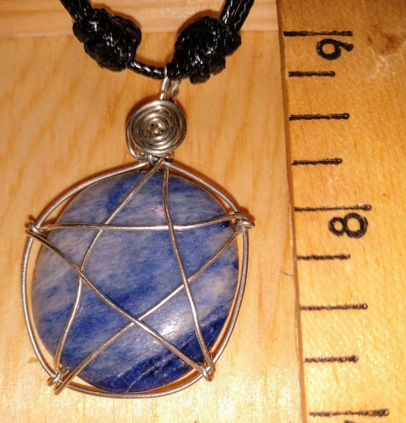 Rock Star Pendant-- Sodalite and Silverplate Wire