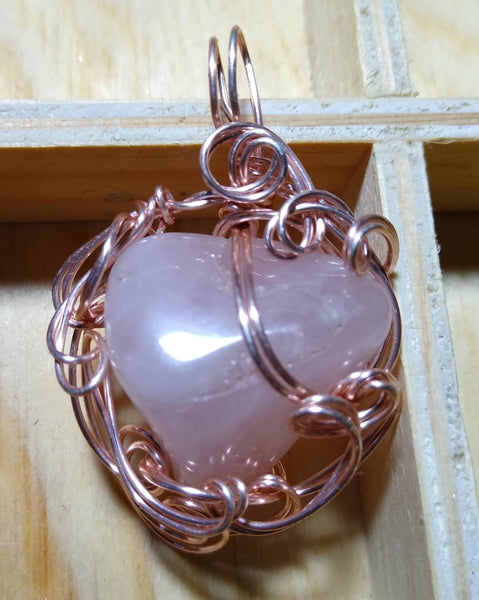 A Rose is a Rose-- Rose Quartz in Rose-gold plated wire