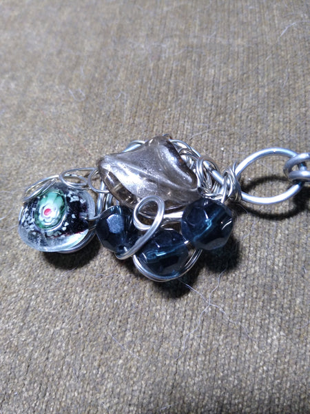 Art Glass Heavy Duty Cloak/Cape Clasp--Silver, Gray, Blue