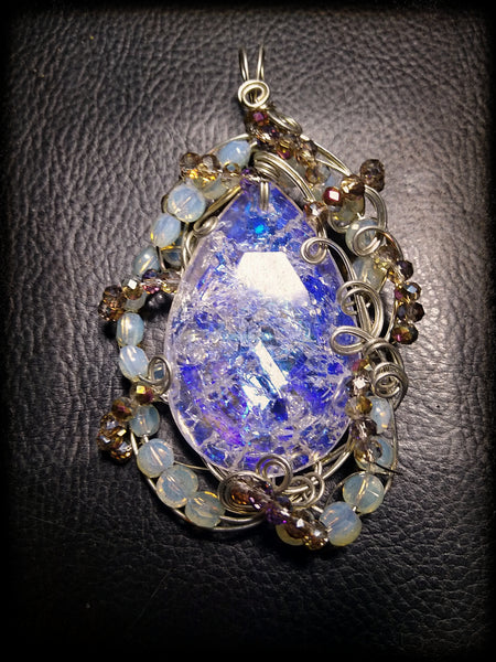 Water and Fire (but mostly water)--art glass and silverplate wire pendant
