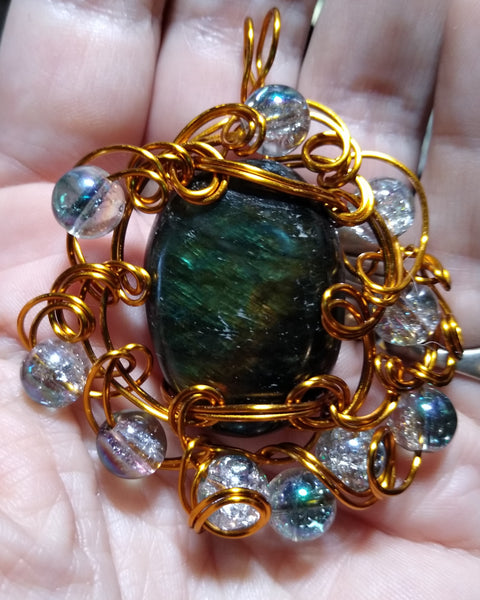 Sea Garden--Labradorite in Bronze Wire