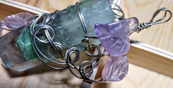 Our Lady of Balance-- fluorite crystal and amethyst pendant