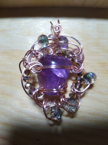 Amethyst and Crystals Rose Gold Pendant