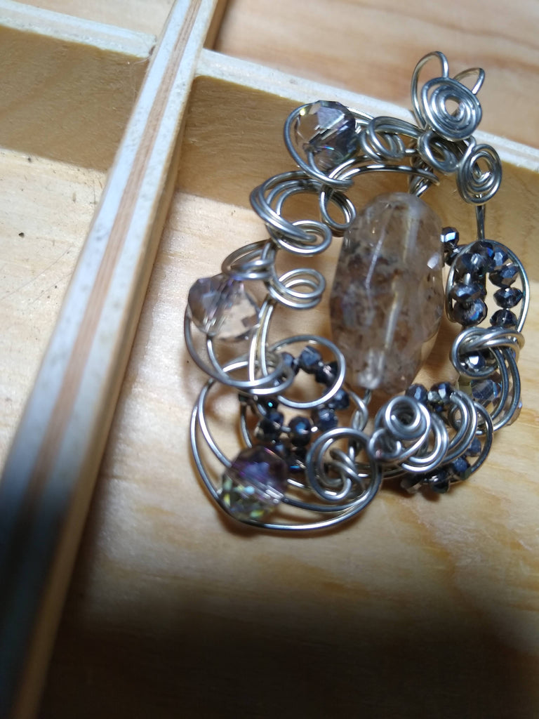 Rutilated Quartz and Czech Glass Pendant