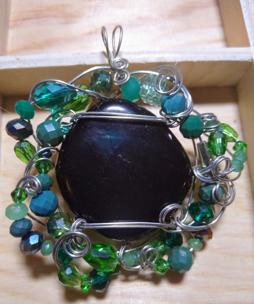 Dark Waters-- jet and czech beads silverplate wire pendant