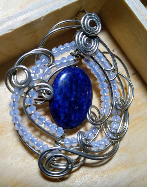 Serenity-- lapis and opalite and silverplate wire pendant