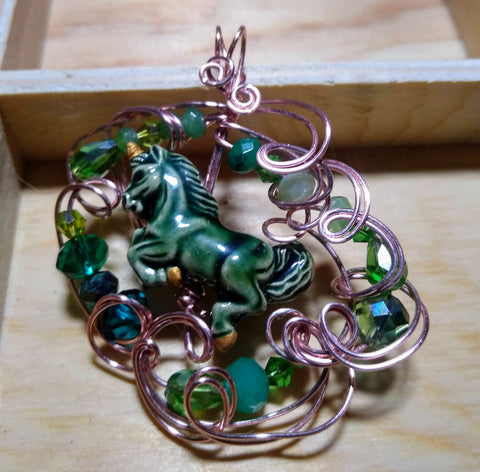 Magical Green Carousel Unicorn Pendant