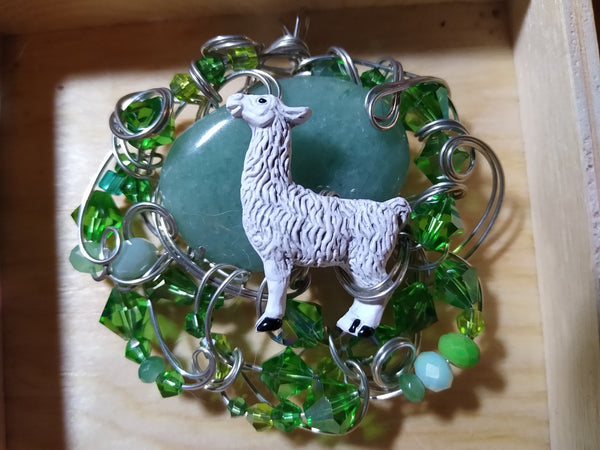 Llama-tude--- Adventurine, Llama, and silverplate wire Pendant