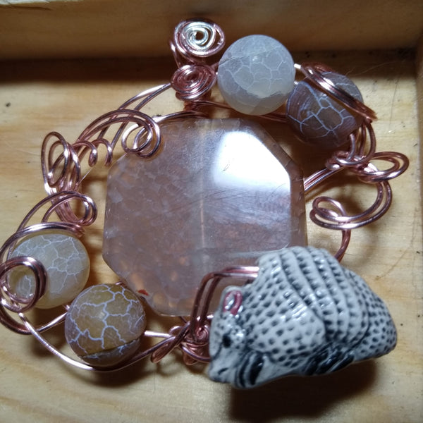 Desert Warrior-- Armadillo, Agate, and Rose-gold plated wire Pendant