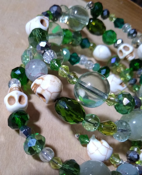 Gothic Green Hedgewitch Bracelet With Skulls