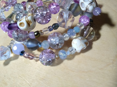Glittergoth Lavender and Crystal Bracelet With Skulls