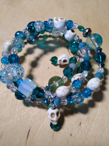 Mermaid Blue Gothic Crystal Bracelet With Skulls