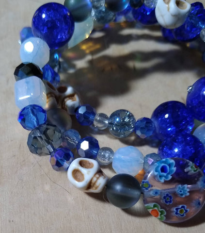 Cobalt and Opalite Gothic Crystal Bracelet With Skulls