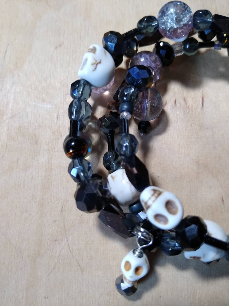 Grey and Black and Lavendar/Crystal Gothic Bracelet With Skulls