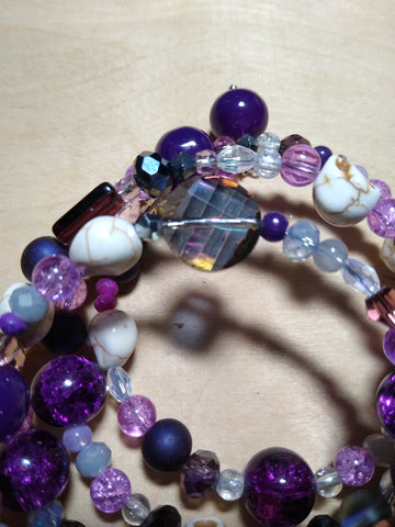 Intensely Purple Crystal Gothic Bracelet With Skulls