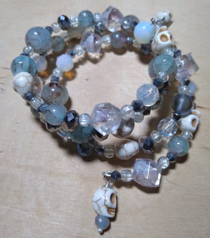 Misty Mondays Fog-Colored Crystal Gothic Bracelet With Skulls