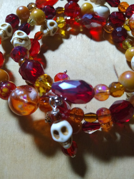 In the Pyre Crystal Gothic Bracelet With Skulls