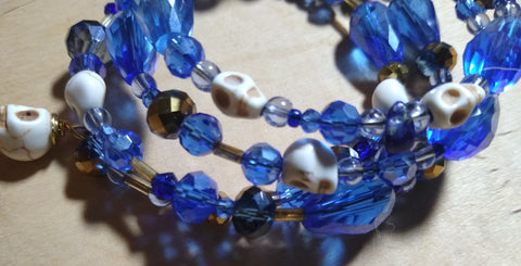 A Touch of Sky Blue Crystal Gothic Bracelet With Skulls