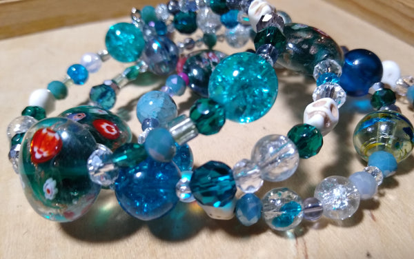 The Siren's Garden--Crystal Gothic Bracelet With Skulls