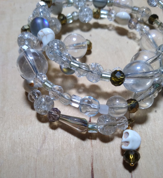 All the Rainbows with Antique Gold Crystal Gothic Bracelet With Skulls