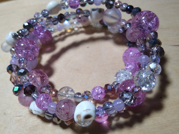 Pretty Princess Pink Crystal Gothic Bracelet With Skulls