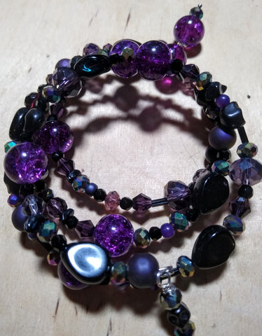 Deep of Night Dark Purple and Aurora Crystal Gothic Bracelet With Black Skulls