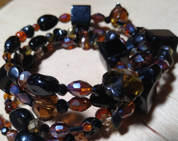 Victorianesque Amber/Brown and Black Crystal Gothic Bracelet With Black Skulls