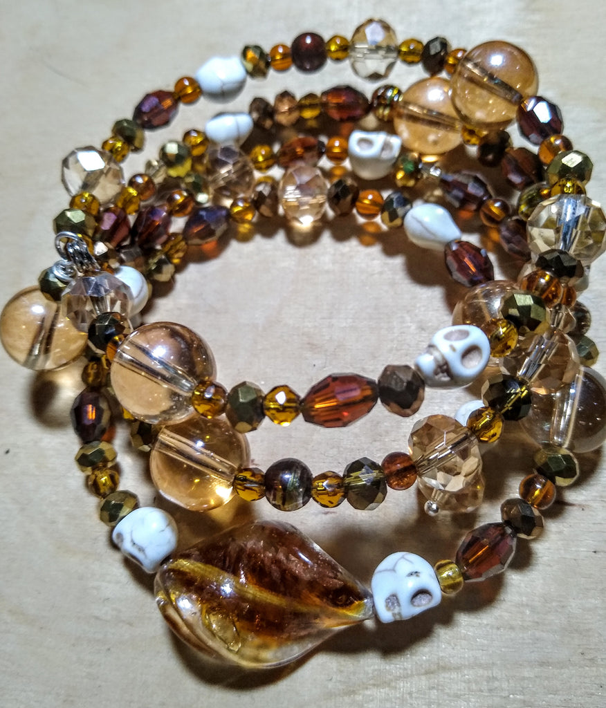 Consequences of Hunting Golden Apples of the Sun:  Lampwork and Crystal Gothic Bracelet With Skulls