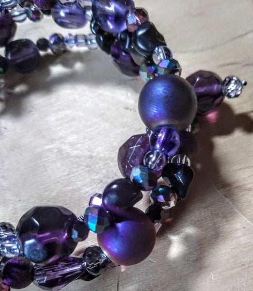 Electric Purple Aurora Crystal Gothic Bracelet With Black Skulls
