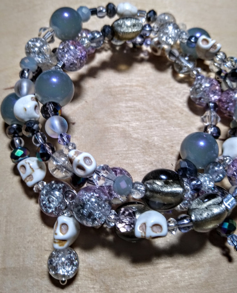 Shades of Twilight: Silver Foil Lampwork and Silver/Lavender Crystal Gothic Bracelet With Skulls