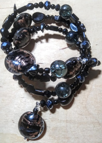 Pitch Black:  Black and Copper Lampwork, Black and Hematite Aurora Crystal Gothic Bracelet With Black Skulls