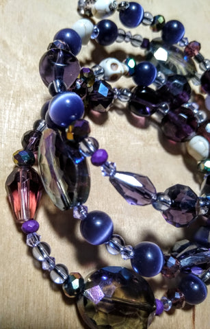 Shades of Purple Aurora Crystal Gothic Bracelet with Skulls