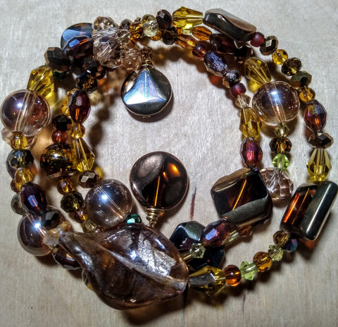 Amber Crystal Art-Deco and Lampwork Ornate Wire Bracelet