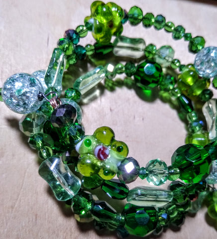 All The Greens Of Spring Lampwork and Crystal Bracelet