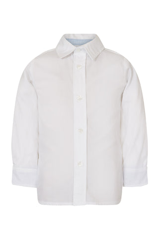 White shirt with blue gingham detail