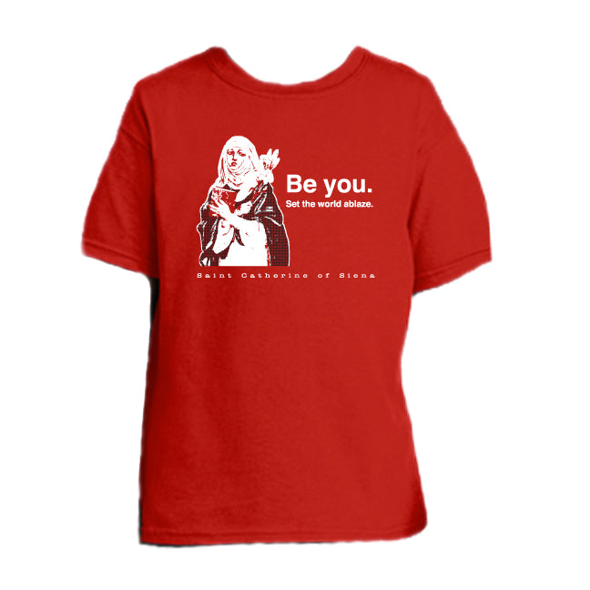 Girl on Fire - St. Catherine of Siena Youth T Shirt  © - That One Sheep