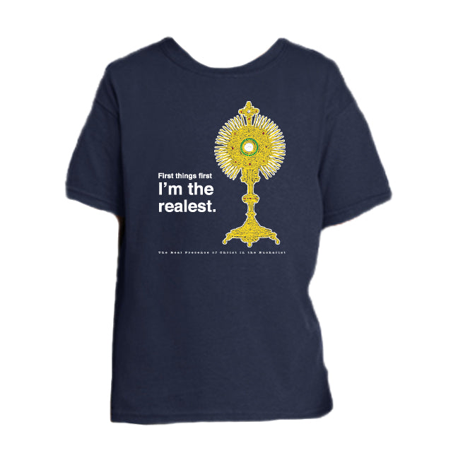 The Realest – Real Presence of Christ in the Eucharist Youth T Shirt  © - That One Sheep