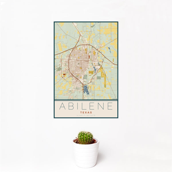 Abilene - Texas Map Print in Woodblock