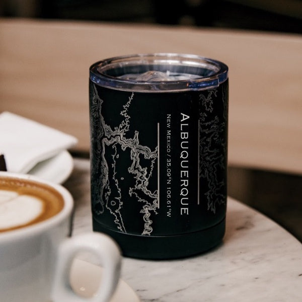 Albuquerque - New Mexico Map Insulated Cup in Matte Black