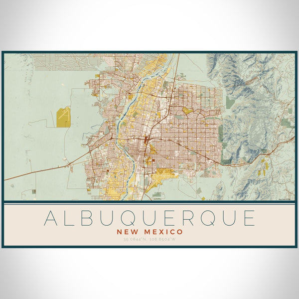 Albuquerque - New Mexico Map Print in Woodblock
