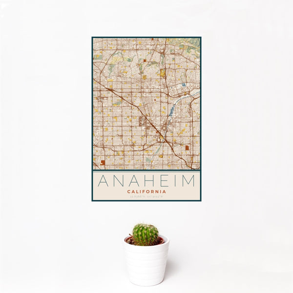 Anaheim - California Map Print in Woodblock