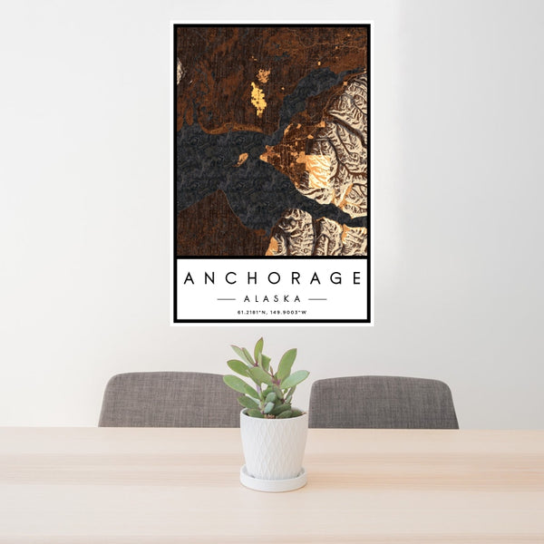 Anchorage - Alaska Map Print in Ember