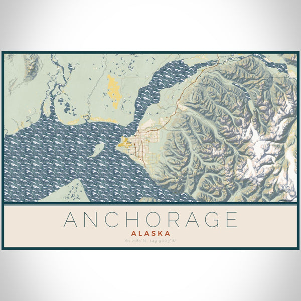 Anchorage - Alaska Map Print in Woodblock