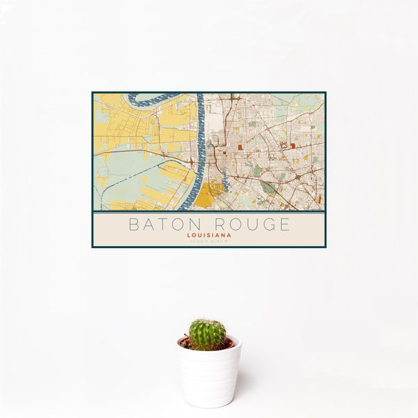 Baton Rouge - Louisiana Map Print in Woodblock