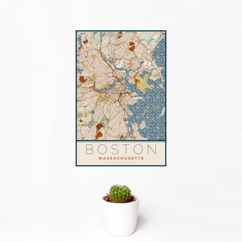 Boston - Massachusetts Map Print in Woodblock