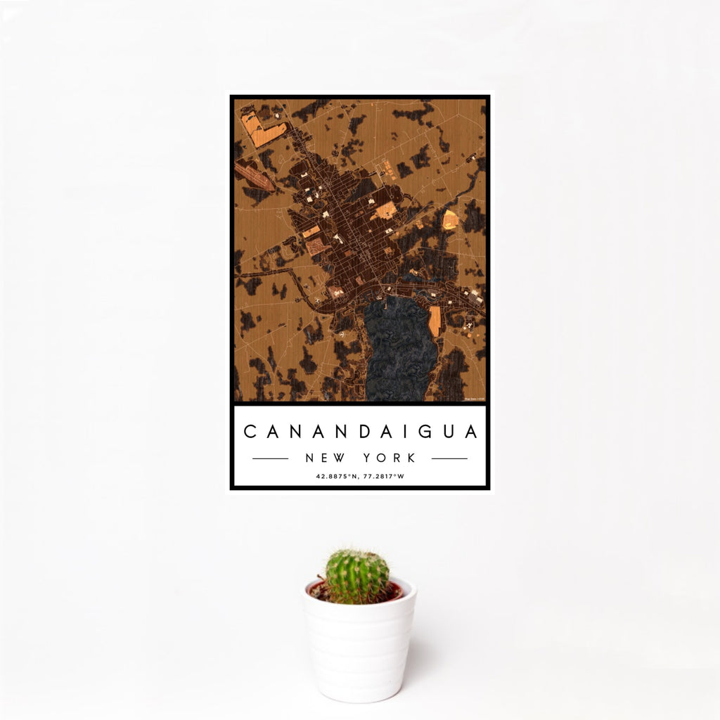 12x18 Canandaigua New York Map Print Portrait Orientation in Ember Style With Small Cactus Plant in White Planter