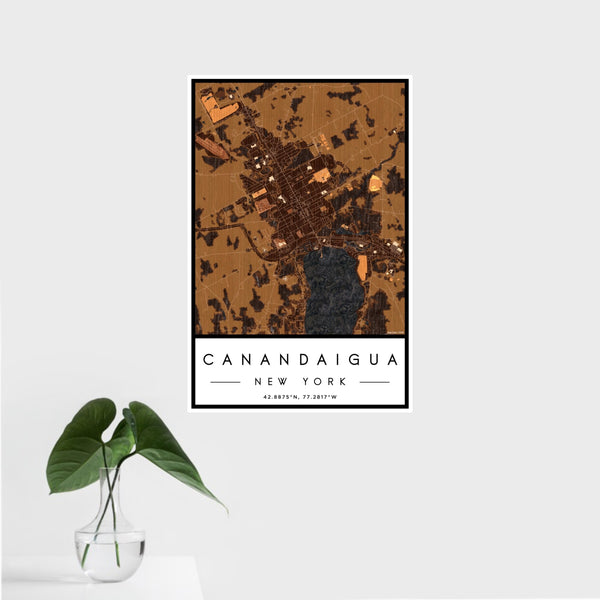 16x24 Canandaigua New York Map Print Portrait Orientation in Ember Style With Tropical Plant Leaves in Water